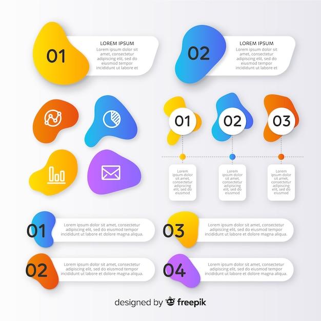 Infographic element collection in gradient style Free Vector