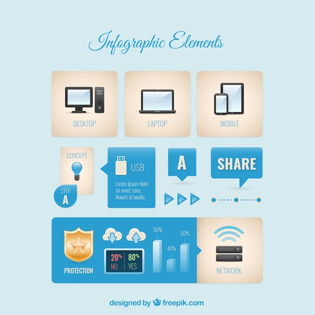 Infographic element collection Free Vector