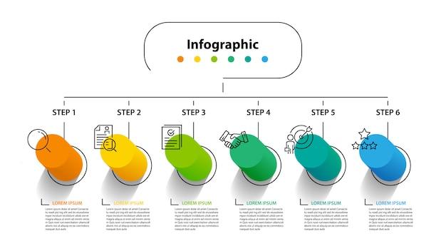 Infographic element design 6ステップ、インフォメーションプランニング Premiumベクター