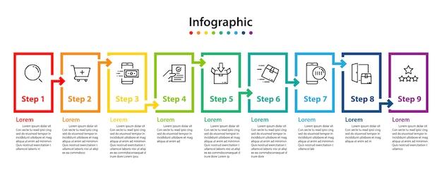 Infographic element design 9 step, infochart planning Premium Vector