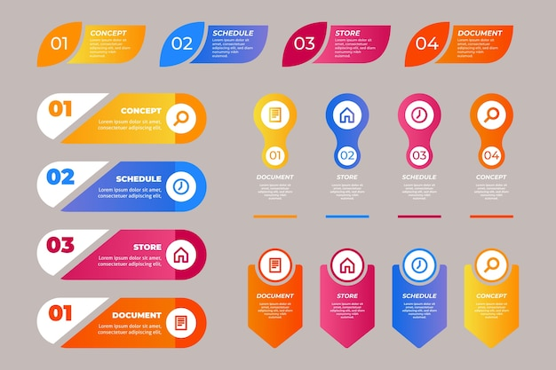 Infographic element pack Free Vector