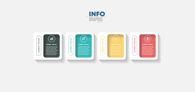 Infographic element with 4 options or steps. can be used for process, presentation, diagram, workflow layout, info graph, web design. Premium Vector