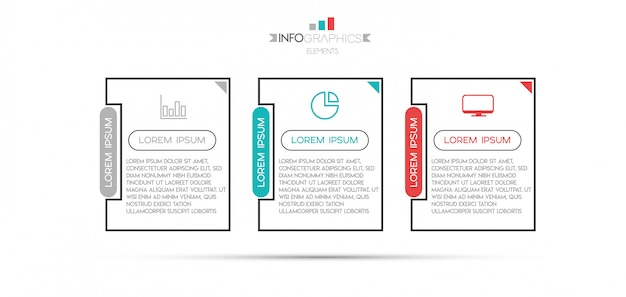 Infographic element with icons and 3 options or steps. Premium Vector
