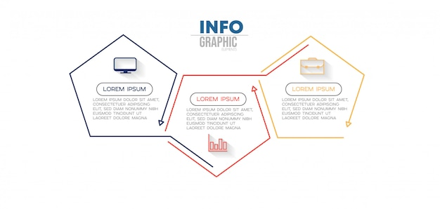 Infographic element with icons and 3 options or steps Premium Vector