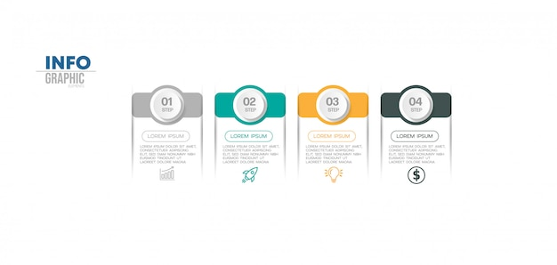Infographic element with icons and 4 options or steps. can be used for process, presentation, diagram, workflow layout, info graph, web design. Premium Vector