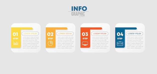 Infographic element with icons and 4 options or steps. Premium Vector