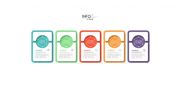 Infographic element with icons and 5 options or steps Premium Vector