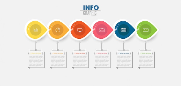 Infographic element with icons and 6 options or steps Premium Vector