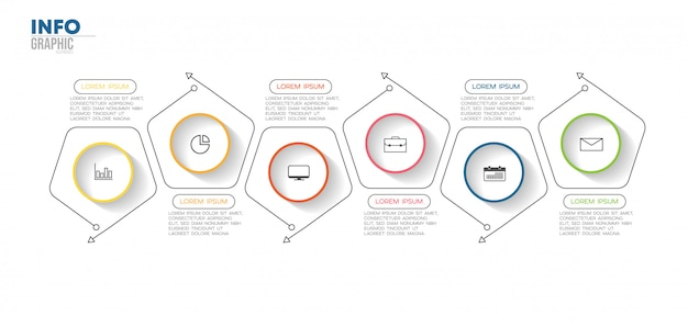 Infographic element with icons and 6 options or steps. Premium Vector