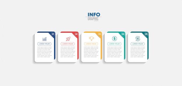 アイコンと5つのオプションまたは手順を持つインフォグラフィック要素。 Premiumベクター