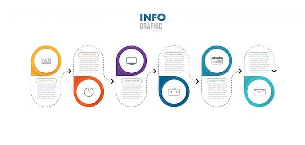 アイコンと6つのオプションまたは手順を持つインフォグラフィック要素。 Premiumベクター