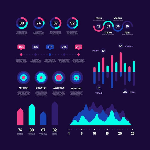 Infographic elements. bar graphs marketing infographics, pie charts, options workflow diagrams with percents, circle diagram vector set Premium Vector