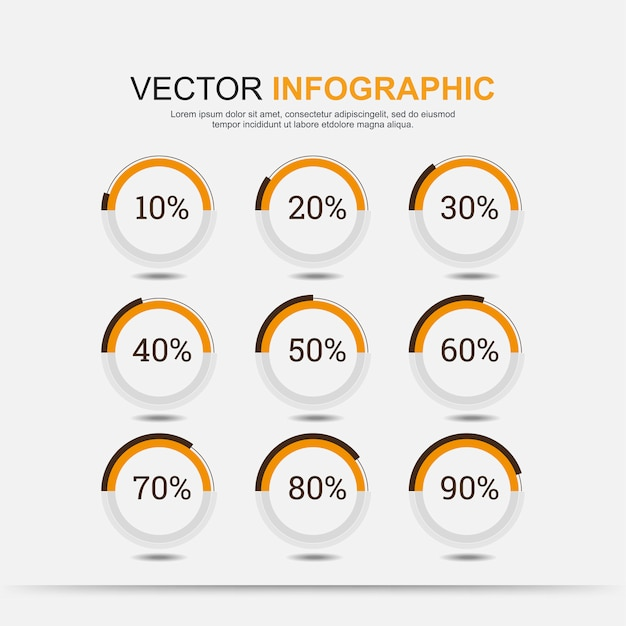 Infographic elements chart circle with indication of percentages Premium Vector