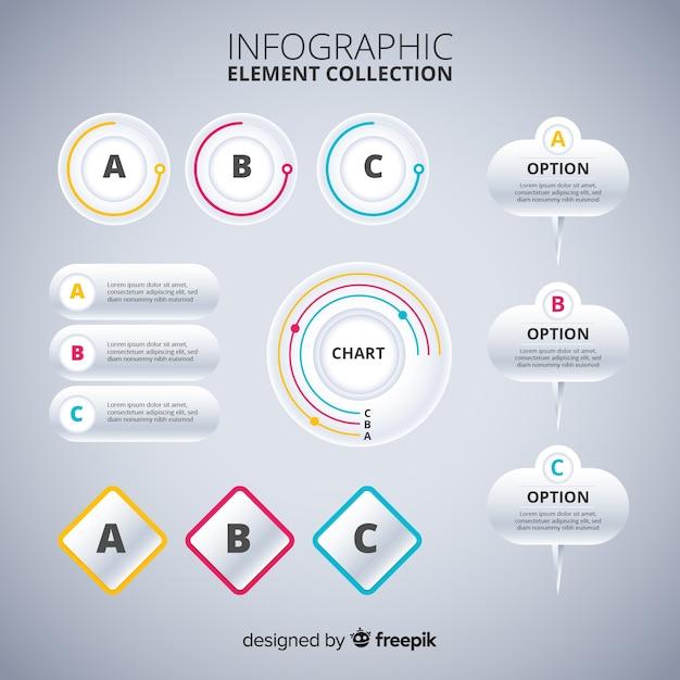Infographic elements collection flat design Free Vector