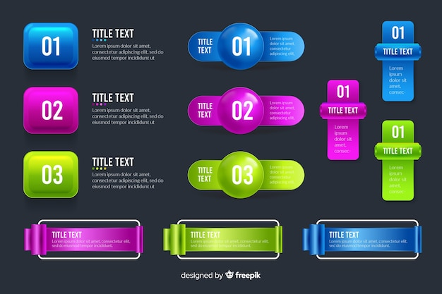 Infographic elements collection in realistic glossy style Free Vector