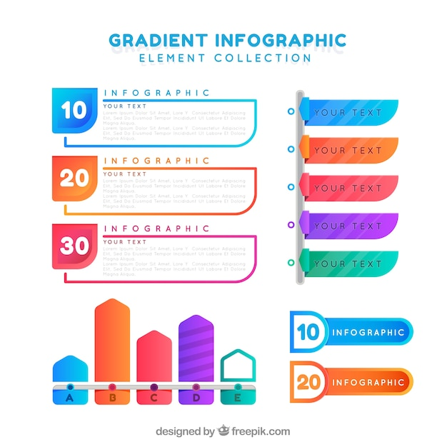 Infographic elements collection with gradient colors Free Vector