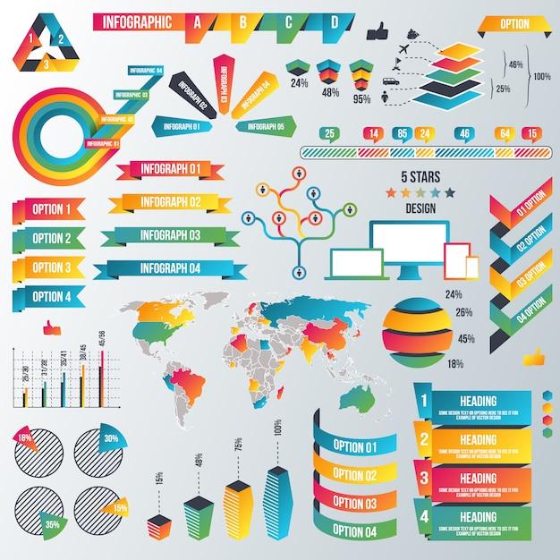 Infographic elements collection Premium Vector