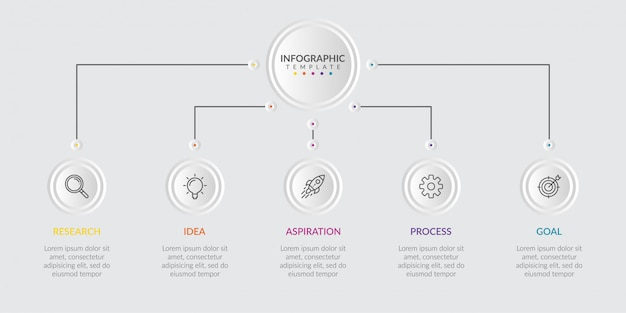 Infographic elements for content with icons and options or steps. Premium Vector