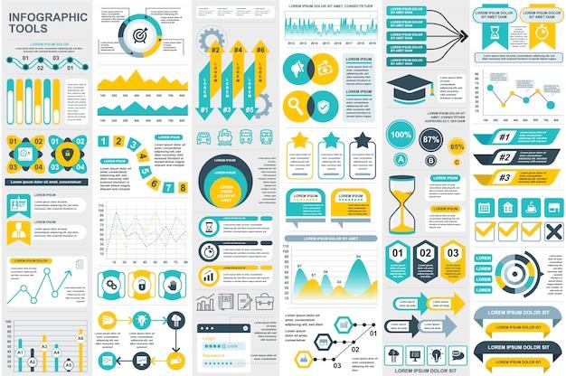 Infographic elements data visualization vector design template Premium Vector