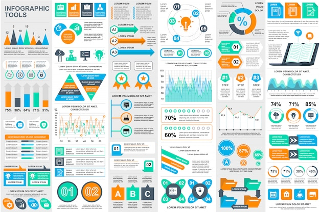 Infographic elements data visualization vector design template Premium Vector