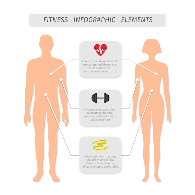 Infographic elements for fitness sports and\ healthcare achievement measure and report vector\ illustration