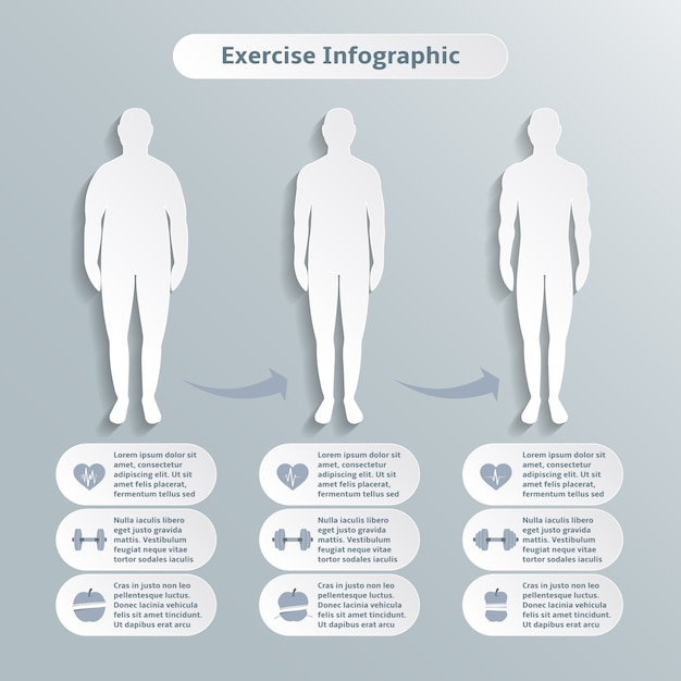 Infographic elements for men fitness and sports\ of healthcare weight loss power training vector illustration\ graphic elements