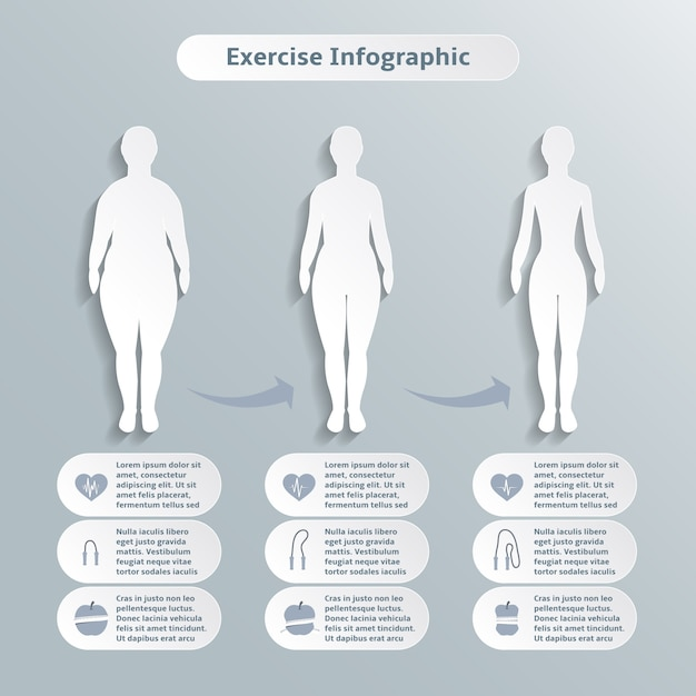 Infographic elements for women fitness and\ sports of slimness weight loss and healthcare vector\ illustration