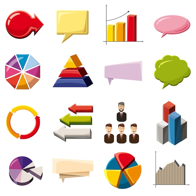 Infographic elements icons set, cartoon style Premium Vector