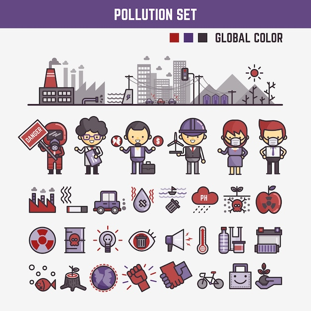 Infographic elements for kids about pollution Premium Vector