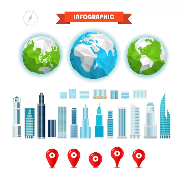 Infographic elements template. the earth and buildings and pins Premium Vector