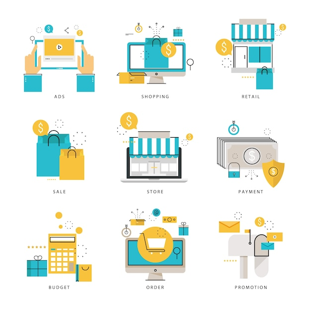 Infographic flat line icons collection for online shopping e infographic flat line icons collection for online shopping e commerce online store altavistaventures Images