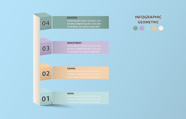Infographic four cube look like pillar graph for business concept. blue color background. Premium Vector