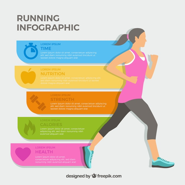 Infographic of girl running Free Vector