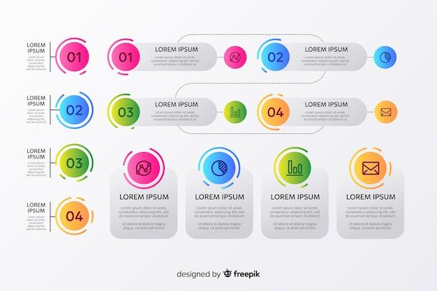 Infographic gradient element set Free Vector