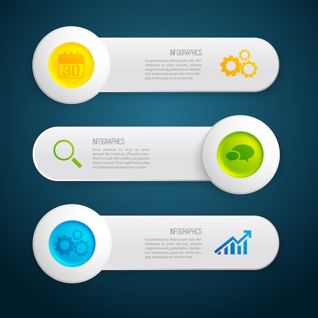 Infographic gray horizontal banners with text colorful circles and icons on dark illustration Free Vector