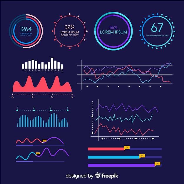 Шаблон панели инфографики роста Бесплатные векторы