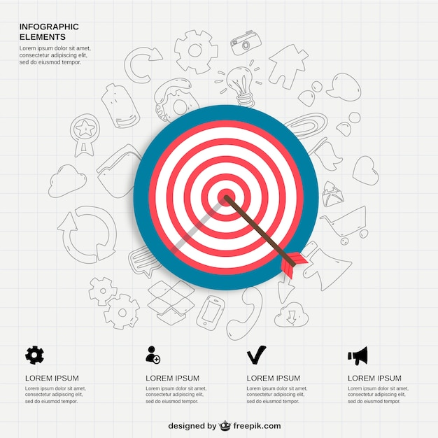 Infographic icons and bullseye vector free download for Bullseye chart template