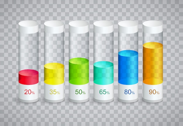 Infographic icons with 6 parts of columns in percent of growth Premium Vector