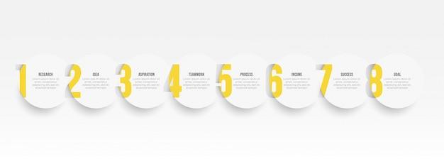 サークルと番号のオプションを持つインフォグラフィックラベルデザインテンプレートです。 8ステップまたはプロセスのビジネスコンセプト。 Premiumベクター