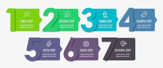 7 가지 옵션 또는 단계가있는 인포 그래픽 라벨 디자인. 비즈니스 개념에 대한 인포 그래픽. 프리미엄 벡터