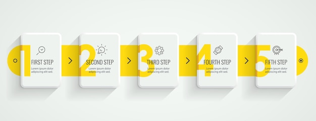 Infographic label design with icons and 5 options or steps. infographics for business concept. Premium Vector