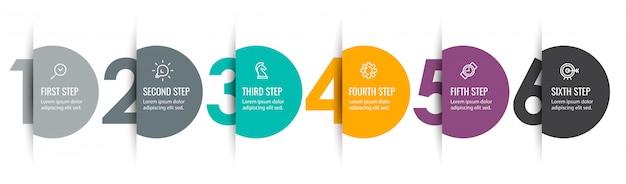 아이콘과 6 가지 옵션 또는 단계가있는 인포 그래픽 라벨 디자인. 비즈니스 개념에 대한 인포 그래픽. 프리미엄 벡터