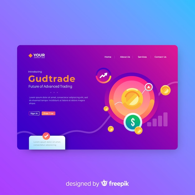 Infographic landing page template Free Vector