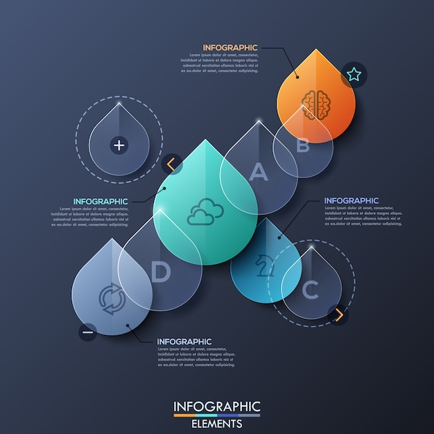 Infographic layout with transparent water drops Premium Vector