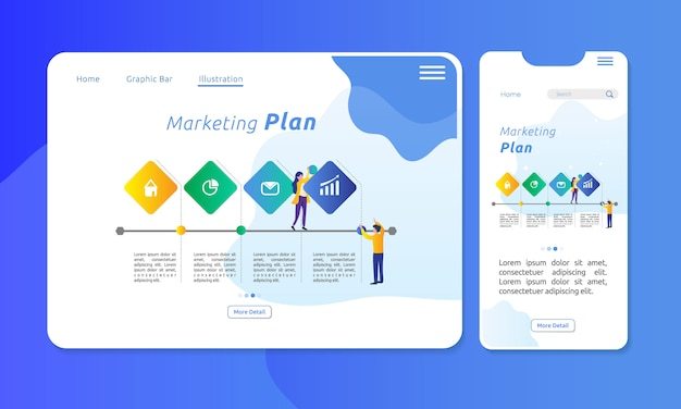 Infographic for marketing plan in 4 sections Premium Vector