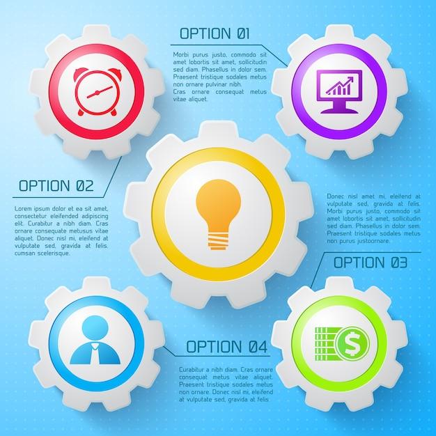 Concetto di web del meccanismo di infografica con le icone variopinte degli ingranaggi meccanici quattro opzioni sull'illustrazione blu-chiaro Vettore gratuito