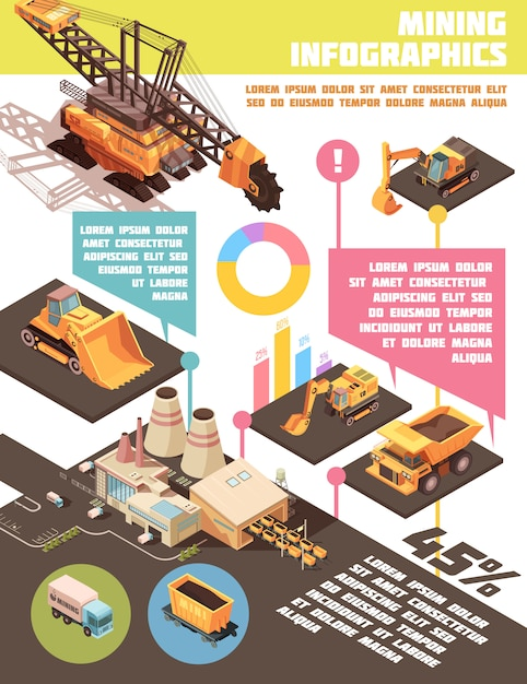 Infographic mining poster Free Vector
