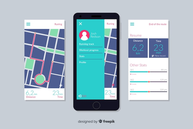 Infographic for mobile running app Free Vector
