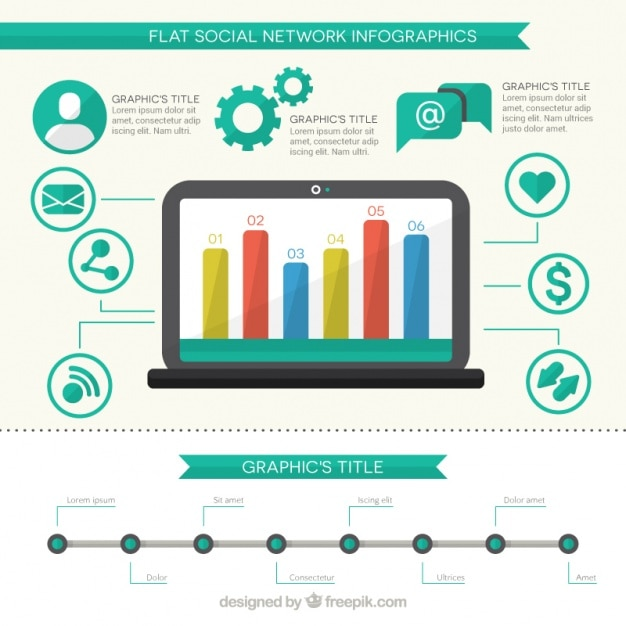 Infographic modern social networking Free Vector