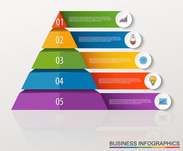 Infographic multilevel pyramid with numbers and business icons Premium Vector